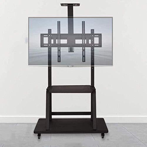 N/Z Inicio Equipamiento Mesa giratoria Soporte para TV Soporte Delgado para TV de Acero Inoxidable para televisores de 50 86 Pulgadas Mueble de TV Flotante Negro con Ruedas