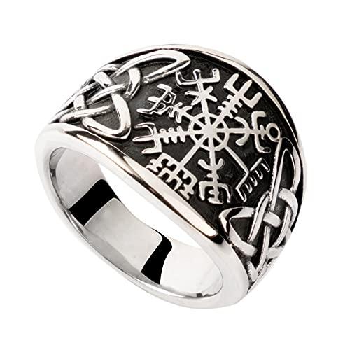 DFWY Hombres Viking Vegvisir Celtic Knot Anillo de Acero Inoxidable, Anillo de Banda Nordic Compass Totem Retro, Unisex Vintage Moda Estilo Gótico Pagan Irish Protección Joyería (Size : 13)