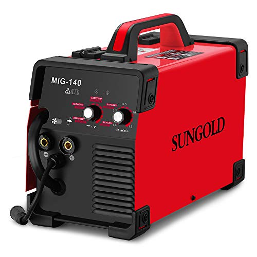 SUNGOLDPOWER MIG Welder 140A Gas and Gasless Welding 110/220V Dual Voltage IGBT DC Inverter Welding Machine Including Flux Cored Wire