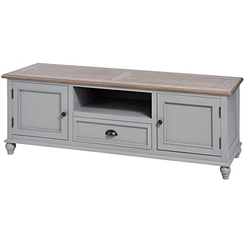 Interior Flair French Country Grey Living Room Furniture Storage Drawer TV Media Stand Cabinet