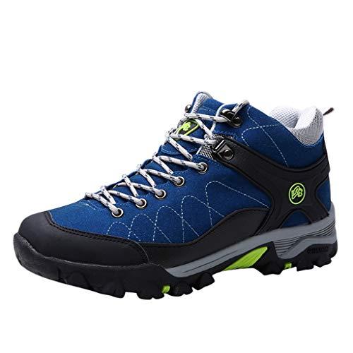 Wanderstiefel Paar Winter Damen Herren Trekking- und Wanderschuhe Plus Samt Sneaker Baumwollschuhe Rutschfeste Kletterschuhe Trekkingschuhe Turnschuhe, Blau