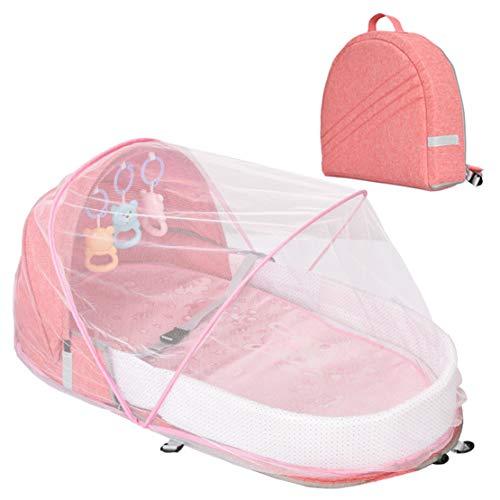 xiaohuozi Tragbares Kinderbett mit Moskitonetz Anti-Stress Faltbares Babybett mit Markise Reisewindeltasche Mumientasche für Reisen nach Hause im Freien, Besuche bei Verwandten und Freunden,Pink
