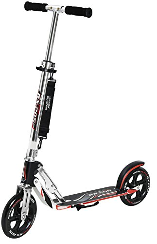 HUDORA 14724 Adult Folding Kick Scooter- 2 Big PU Wheels 205 mm, Adjustable Bar,Reinforced Deck