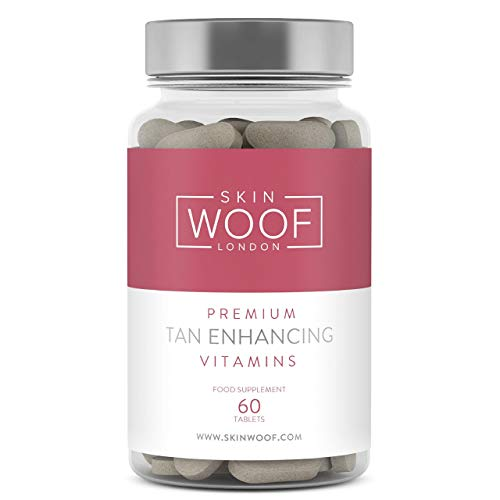 Skin Woof Tan Enhancing Vitamins | Helps You Naturally Produce a Healthier, Bronze Looking Tan | Suitable for Vegans - 60 Tablets