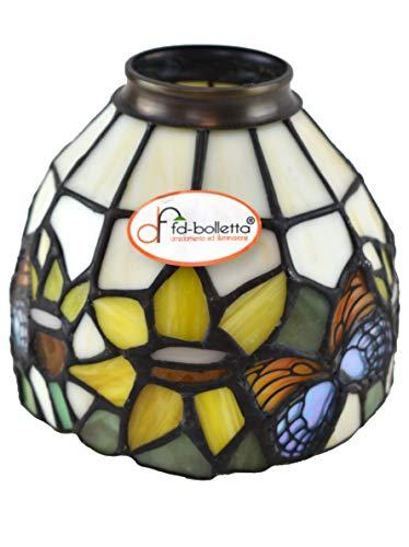 fd-bolletta arredamento e illuminazione Tulipa Tiffany, cristal Tiffany, cristal de repuesto vt7. Medidas: 11,5 cm de altura, 13,5 cm de diámetro, diámetro exterior de la boquilla: 5,5 cm.