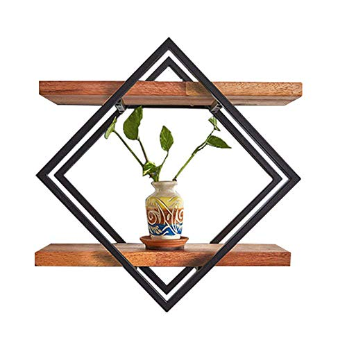 Shelves Sundries Shelf, Diamond Wall Shelf, Living Room Bedroom Divider Solid Wood Wall Wrought Iron Partition -Finishing and Storage,42 * 42cm,Colour Name:42*42cm Flower Pot Rack ( Color : 42*42cm )