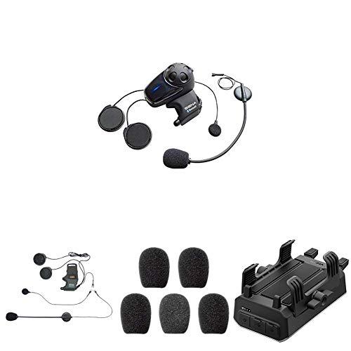 SMH10-11 Bluetooth-Headset und Gegensprechanlage + SMH-A0302 Helmklemmenset - Anbringbares Bügelmikrofon + SC-A0109 Mikrofonaufsätze + POWERPRO-01 PowerPro Handlebar