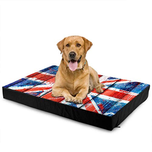 Liaosax Waterproof Dog Bed Mottled Union Jack Flag On Wooden Plank Medium Dog Bed Comforting Dog Bed Waterproof 76 X 51 X8cm with Zipper Removable Cover for Dogs & Cats