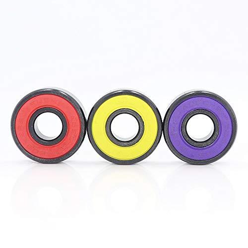 Rodamientos de bolas, 16pcs ABEC9 608 2RS en línea Rodillo de patinaje Rodamiento de la rueda 608 RS Rust Rust Rust Tape Rodamientos de bolas 608RS Sellado rojo 8x22x7 mm Eje