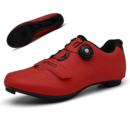 Peloton Bike Shoes Cycling Shoes for Men Premium Road Bike Shoes Professional Indoor Cycling Shoes Peloton Shoe with SPD for Men Lock Pedal Bike Shoes Red