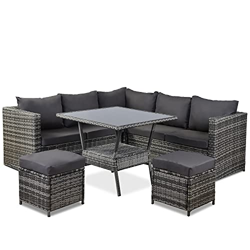 Pumpumly 8 Seater Rattan Garden Furniture Set - Glass Coffee Table Conversation Set Conner Sofa with Dining Table 2 Stools Garden Patio Furniture Outdoor Patio Rattan Furniture Set