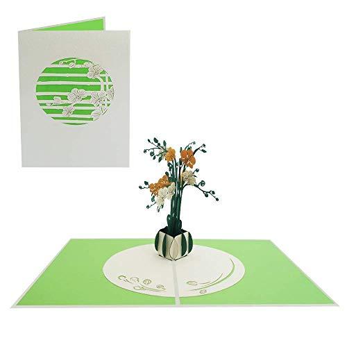Blumen Pop Up Karte Glückwunsch Geburtstag Jahrestag Freundin Frau Mutter Danksagung Gute Besserung - Orchidee 082
