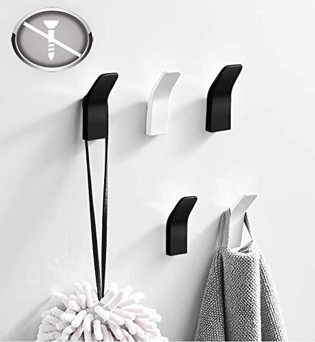 IceFrog Handtuchhalter ohne Bohren 5 Stück, 3 Schwarz 2 Weiß Kleiderhaken ohne Bohren Handtuchhaken Wandhaken Wand aus Edelstahl, Rostfrei, Haken für Bad Toilette Küche Büro Klebehaken