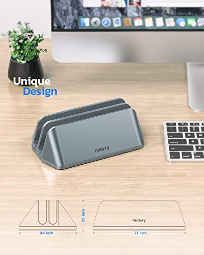 Nulaxy Soporte Vertical Dual para Ordenador Portátil, Doble Aluminio Soporte de Escritorio con Base Ajustable… 4