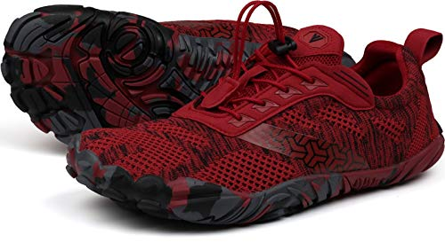JOOMRA Barefoot Trail Running Shoes Women Minimalist Barefoot Size 10.5-11 Red Zero Drop Athletic Hiking Fitness Trekking Gym Wide Breathable Toes Five Fingers Workout Sneakers 42