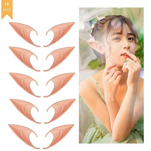 Yesoa 5 Paar weiche Latex-Prothetik Fee Pixie Elf Ohren Halloween Kostüm Cosplay Elfe Vampir Ohren Requisiten Rollenspiel Maskerade Fee Pixie Ohr Anime Party Dress Up Zubehör