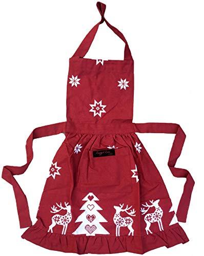 Ragged Rose Betsy Kinderschürze mit Rüschen für Weihnachten, Baumwolle, für Kinder im Alter von 3–7 Jahren