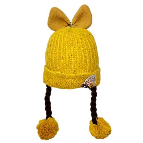 HunYUN - Gorro de invierno para bebé, diseño de gorro de punto con dibujos animados, regalo, Amarillo, Free