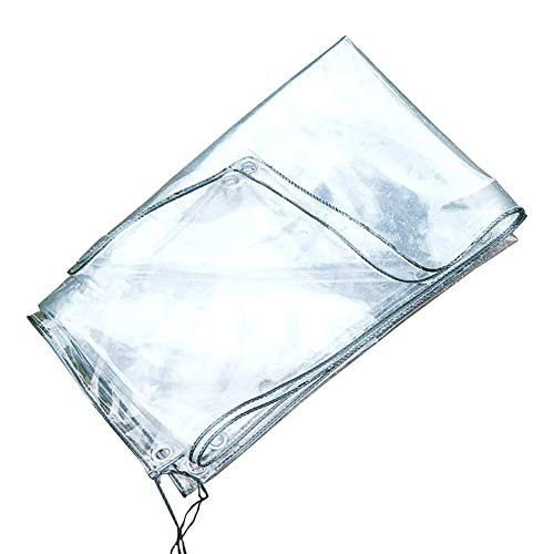 FCXBQ Outdoor Multipurpose Tarpaulin-Tarpaulin Clear Transparent Tarp for Open Storage Thick 0.3Mm, Waterproof with Eyelets, Garden Plastic Insulation Cloth/Film,1.6Mx3M
