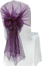 mds Pack of 125 Organza Hood Sashes Chair Sashes/Bows Hoods sash for Wedding or Events Banquet Decor Chair Hood Bow sash- Eggplant