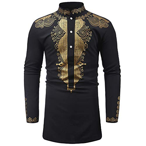 2019 New Hot Personality Mens Luxury African Print Long Sleeve Dashiki Shirt Top Blouse by G-Real Black