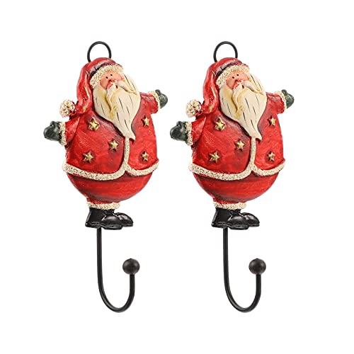 KGDC Percheros de Pared 2pcs Santa Claus Ropa Hook Colleging Coat Gancho Gancho Creativo (5.89 x 3.14 x 0.79 Pulgadas) Ganchos de Pared