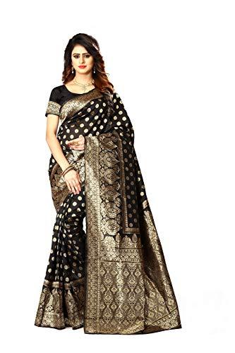 Banarasi Damen-Sari, Seide, indische Hochzeit, ethnisch, Sari & Unstitch Bluse Piece PARI 22 - Schwarz - Einheitsgröße