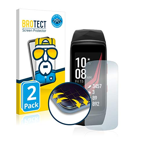 BROTECT Full-Cover Schutzfolie kompatibel mit Samsung Gear Fit 2 Pro (2 Stück) - Full-Screen Bildschirmschutz-Folie, 3D Curved, Kristall-Klar