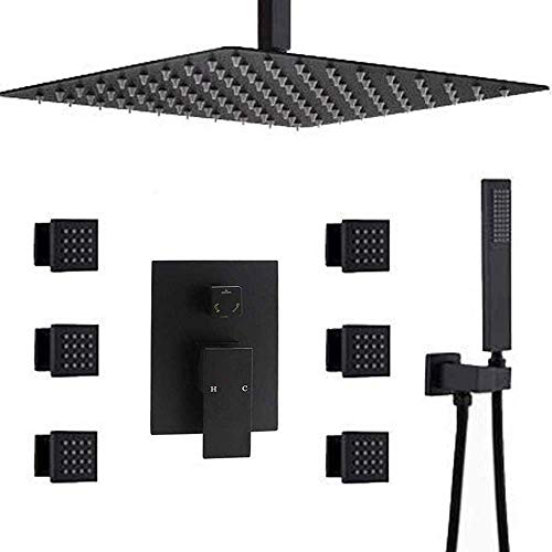 AYIVG Bathroom Black 12 Inch Ceiling Rainfall Shower System With 6 Pcs Body Spray Jet Mixer Set