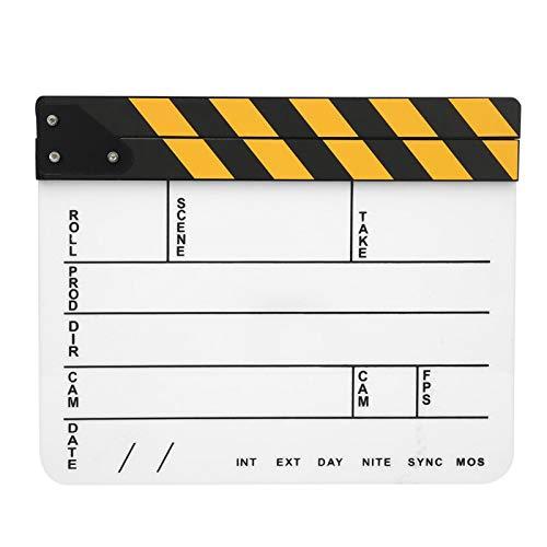Decoración de cine, tablero de clap de 30 x 25 cm acrílico tablilla de rayas amarillas pizarra blanca para actividades al aire libre para fotografía de cine y televisión (predeterminado)