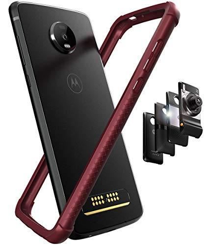 Hüllewe - Schutzhülle für Motorola Moto Z4 (thermoplastisches Polyurethan + PC), flexibel, Doppelspritztechnologie, kompatibel mit Moto Mods – Tiefrot