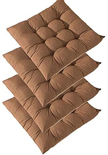 RR&LL Funda de cojín de asiento de silla suave y gruesa, color sólido, cojín antideslizante para silla al aire libre, cojín 100% fibra de poliéster (4 piezas)