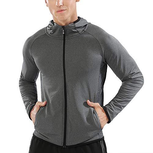 Muscle Alive Herren Reißverschluss Laufen Hoodies Sportjacken Fitness Running Jacken Fitnessstudio Hemd Sport Oben Color Grey Size XL