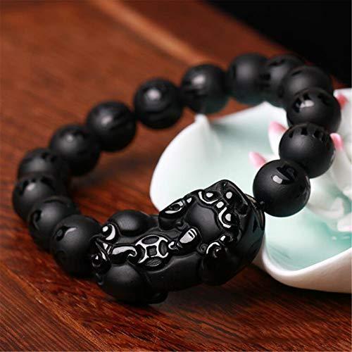 Feng Shui riqueza brazalete de obsidiana Pixiu/Piyao amuleto pulsera prosperidad atraer la buena suerte del dinero del amor Perlas de Buda Sutra del Corazón Jade regalo de Hombres/Mujeres,12mm