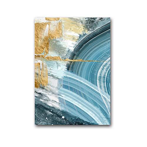 FRTTCYO Poster Moderne abstrakte Leinwand Malerei Poster und Druck für Wohnzimmer Blue Bedroom Home Decor Bild Große Wandkunst Golden Unframed -50x70cmx1 No Frame