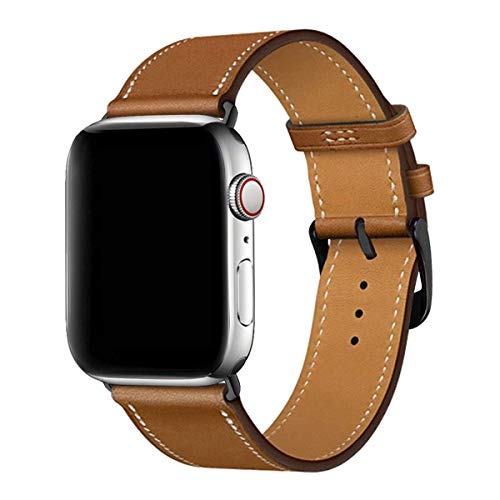MroTech Correa Cuero Compatible para iWatch 44mm y 42mm Pulseras de Repuesto Correa de Piel Genuino con Conectores Negros Compatible para iWatch Serie 5 4 3 2 1 (44 mm / 42 mm Watch Band, marrón)