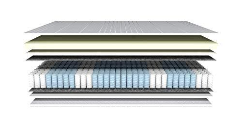AM Qualitätsmatratzen - Visco-Matratze 90x200cm -H2 - Visco-Taschenfederkernmatratze - Matratze mit integrierter 6cm Visco-Auflage - 24cm Höhe - Made in Germany