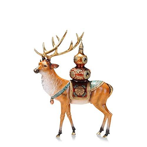 WGGTX Dekorative Ornamente Reines Kupfer Deer Statue Hauptdekoration Geschenk Kunst Ornament Tischdekoration Garten Tiere Büroeinrichtung