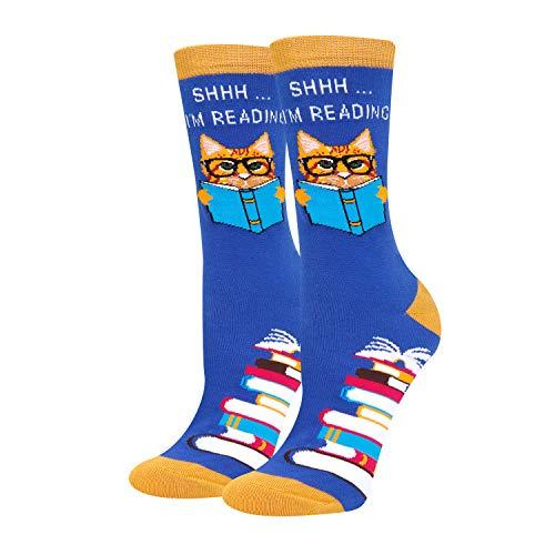 HAPPYPOP Funny Reading Book Cat Socks for Women, Teacher Nerd Librarian Book Lover Bookworm Gift
