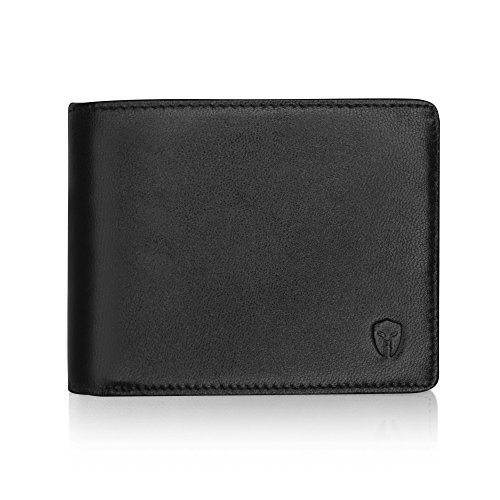 2 ID Window RFID Wallet for Men, Bifold Side Flip, Extra Capacity Travel Wallet (Black - Sheepskin Leather)