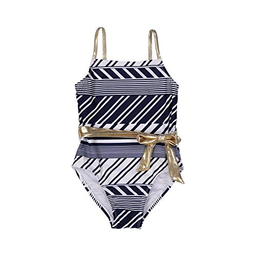 Tommy Bahama Girls' Little One-Piece Swimsuit Bathing Suit, Navy White Stripes, 4