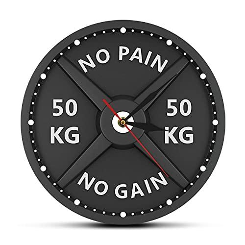 ZHOUJ Wanduhr Langhantel 3D Modern Gewichtheben Hantel Bodybuilding Wanduhr Gym Workout Strongman Geschenk Batteriebetrieben Mute Einfach Zuhause Wohnzimmer