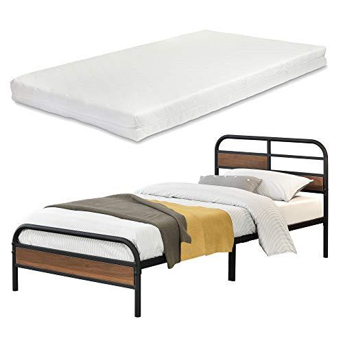 [en.casa] Metallbett Aarau mit Matratze 90 x 200 cm Jugendbett mit Lattenrost und Kaltschaummatratze Einzelbett Metall...