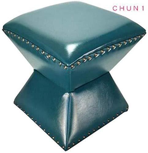 CHU N1 Ölwachs Leder Fußbank, Foyer ändern Schuhmöbel Makeup Hocker 35 × 35 × 36 cm (L × B × H) 124 (Size : Blue)