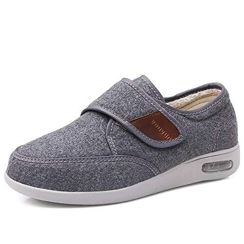 Nwarmsouth Einstellbare Bequeme Diabetes Schuh,Warme, geschwollene Fußschuhe, Diabetikerschuhe mit hohem Spann - 39_ grau,Memory Foam Diabetic Hausschuhe