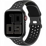 Fengyiyuda Sostituzione sportiva in silicone compatibile con cinturino Apple Watch 38 mm 40 mm 42 mm 44 mm, compatibile con iWatch serie 6/5/4/3/2/1/SE Obsidian&Black-42/44-L