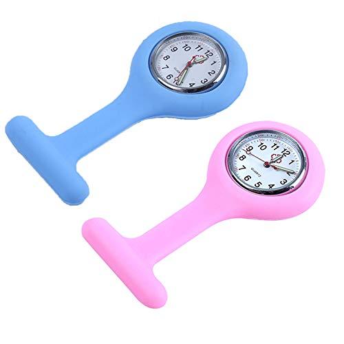 2 Piezas Reloj de Bolsillo para enfermería de Silicona y con Broche para Colgar, Redondo Reloj Prendedor de Broche de Túnica de Paramédico Doctor, Reloj de Bolsillo,Regalo para Médico Doctor