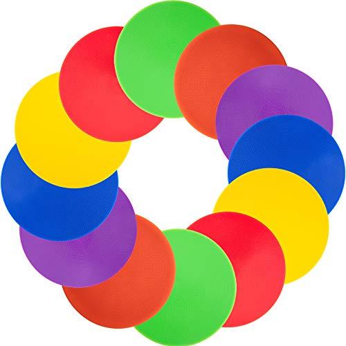 Vhxorrz 18 marcadores puntuales de 22,8 cm para el piso, marcadores de agilidad de goma antideslizante para fútbol, baloncesto, entrenamiento, actividades escolares, ejercicios de ejercicios