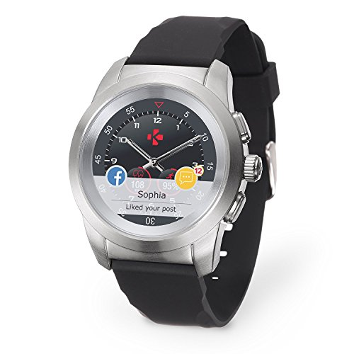 MyKronoz ZeTime Original Hybrid Smartwatch 39mm with Mechanical Hands Over a Color Touch Screen – Brushed Silver/Black Silicon Flat - New Never Opened Box (Renewed)