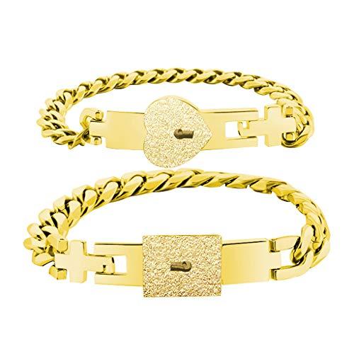 VVXXMO 2 Stück Liebesschloss Armband mit Schloss Schlüssel, Silber Edelstahl Armreif-Set geeignet für Paare Schmuck-Sets Geschenk Gr. Einheitsgröße, gold